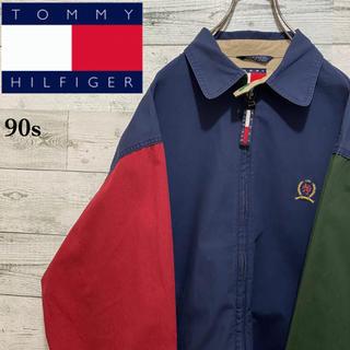 TOMMY HILFIGER - 【激レア】トミーヒルフィガー☆刺繍ロゴ 切替マルチカラースウィングトップ90s
