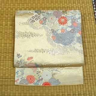 白と生成り色に金銀織りと草花 袋帯(帯)