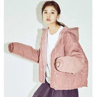 merry jenny - メリージェニー フリルキルティングフードジャケット ピンク