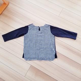ニードルワークスーン(NEEDLE WORK SOON)のボーダーカットソー ロンT 長袖 120 黒 胸ポケット チェック(Tシャツ/カットソー)