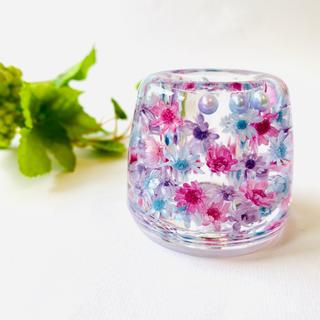 【ヒルナンデスで紹介】お花がいっぱい 固めるハーバリウム ペン立て 歯ブラシ立て(プリザーブドフラワー)