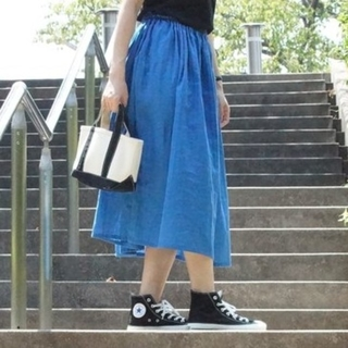 コバルトブルー ダブルガーゼ スカート(ロングスカート)