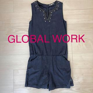グローバルワーク(GLOBAL WORK)のグローバルワーク ビジュー付きサロペット(サロペット/オーバーオール)