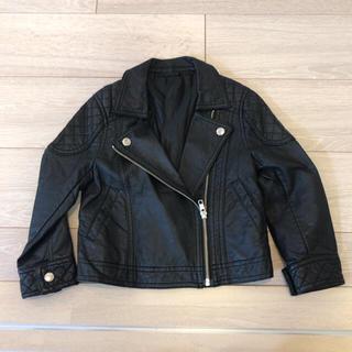 ジーユー(GU)のキッズ ライダースジャケット 革ジャン 黒 サイズ110(ジャケット/上着)