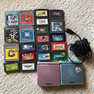 ゲームボーイアドバンス(ゲームボーイアドバンス)のゲームボーイアドバンスSP 2個セット カセット&ワイヤレスアダプタ付き(携帯用ゲーム機本体)
