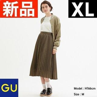 ジーユー(GU)のプリーツミディスカート(チドリ)Z GU ジーユー ベージュ XLサイズ(ロングスカート)