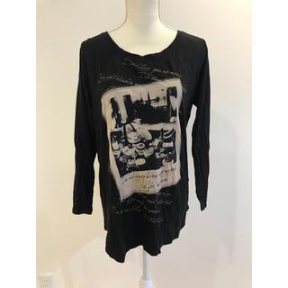 ヘザー(heather)のheatherヘザープリントロンTブラック(Tシャツ(長袖/七分))