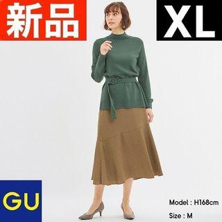 ジーユー(GU)のアシンメトリーヘムプリントスカート(ドット)Z+X GU ジーユー ベージュ(ロングスカート)