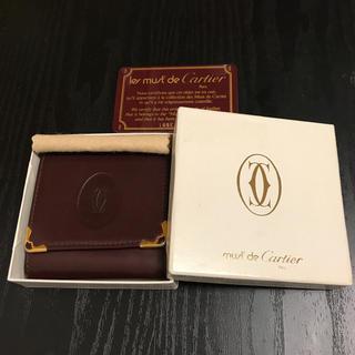 Cartier - 値下げ★ カルティエ コインケース 小銭入れ 財布 マストレザー赤レッドボルドー