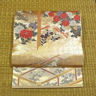ゴールドに菱形と花々 袋帯(帯)