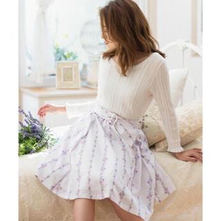 レッセパッセ(LAISSE PASSE)のストライプフラワープリントスカート(ひざ丈スカート)