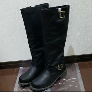 ロングブーツ 黒 ブラック 新品 LLサイズ(ブーツ)