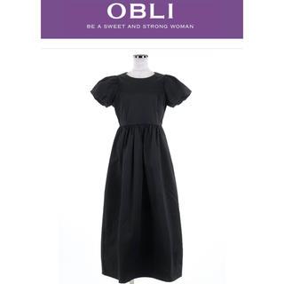 ドゥロワー(Drawer)のオブリ  OBLI  バルーン ロング ワンピース ブラック 黒 Mサイズ(ロングワンピース/マキシワンピース)