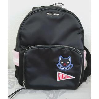 ミュウミュウ(miumiu)のミュウミュウ ワッペン リュック ピンク バックパック カバン バッグ(リュック/バックパック)