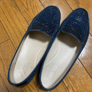 プールサイド(POOL SIDE)のプールサイド ラメローファー ネイビー 37(ローファー/革靴)