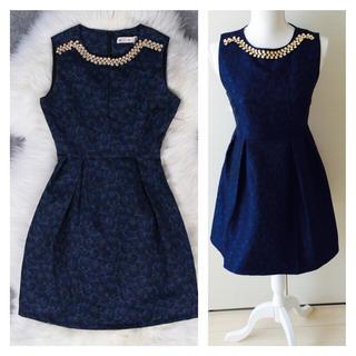セール!ネイビービジュー花柄刺繍ドレス(ミディアムドレス)