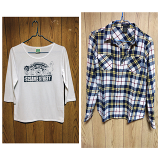 セサミストリート(SESAME STREET)のチェックシャツ&七分袖Tシャツ(セット/コーデ)