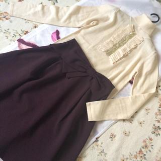 パウダーシュガー(POWDER SUGAR)のフリルニット&リボンスカートセット♡(ニット/セーター)