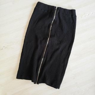 デュラス(DURAS)のDURAS フロントジップ リブタイトスカート(ひざ丈スカート)