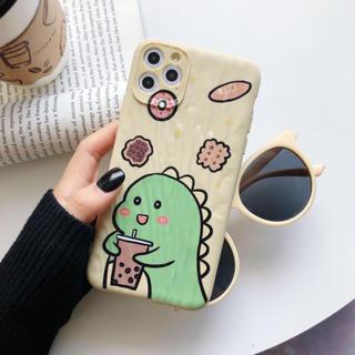 iPhone 11 Pro ケース 可愛い ミルクティー ダイナソー(iPhoneケース)
