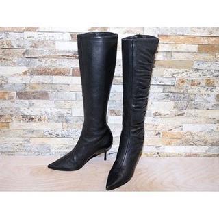 ジミーチュウ(JIMMY CHOO)の定価14万 JIMMYCHOO ジミーチュウ ロングブーツ 黒 25,526cm(ブーツ)