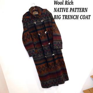 ウールリッチ(WOOLRICH)のWool Rich ウールリッチ エスニック ネイティブ柄 ロング コート 古着(トレンチコート)