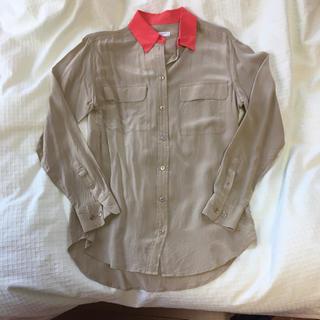 エキプモン(Equipment)の【値下げ!】equipment femme バイカラーシャツ シルク100%(シャツ/ブラウス(長袖/七分))