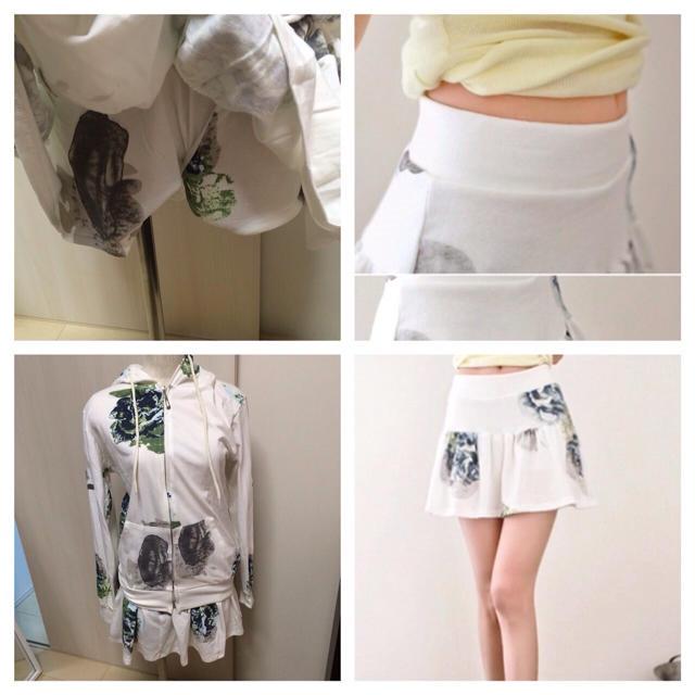 新品2点セットアップ☆花柄スウェット☆白 レディースのルームウェア/パジャマ(ルームウェア)の商品写真