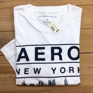 新品【メンズXL】★エアロポステール★ロゴ入りプリント半袖Tシャツ/白
