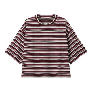 ジーユー(GU)のGUマルチボーダークロップドT(5分袖)+ECオンライン特別商品サイズXL(Tシャツ(半袖/袖なし))