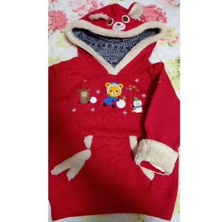 ミキハウス(mikihouse)のミキハウスパーカー雪遊び雪だるま赤なりきり110トレーナー(Tシャツ/カットソー)