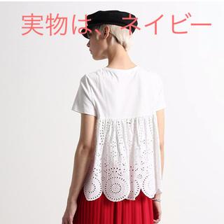 ミュベールワーク(MUVEIL WORK)のMUVEIL WORK レースTシャツ ネイビー(Tシャツ(半袖/袖なし))