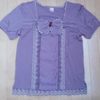 アクシーズファム(axes femme)のリボン付パープル トップス(Tシャツ(半袖/袖なし))