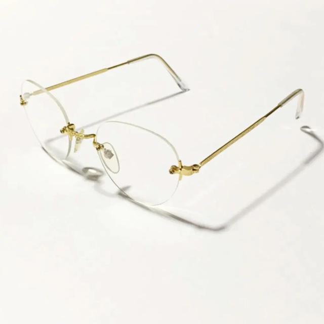 Zoff(ゾフ)のゴールドフレーム サングラス 伊達眼鏡 白山眼鏡 zoff ゾフ jins メンズのファッション小物(サングラス/メガネ)の商品写真