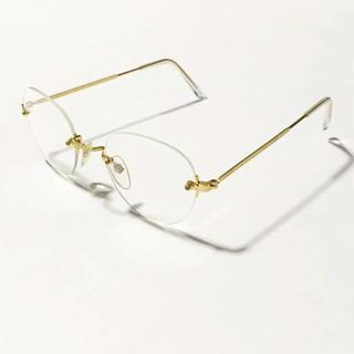 ゾフ(Zoff)のゴールドフレーム サングラス 伊達眼鏡 白山眼鏡 zoff ゾフ jins(サングラス/メガネ)