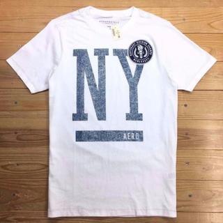 新品【メンズS】★エアロポステール★ワッペン&プリント半袖Tシャツ/白