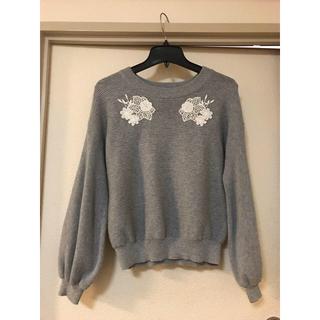 クチュールブローチ(Couture Brooch)のクチュールブローチ モチーフレース バルーン袖ニット 38グレー(ニット/セーター)