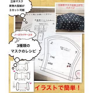 立体マスクの型紙 + 3種類のマスクの作り方(型紙/パターン)