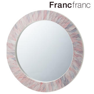 フランフラン(Francfranc)の❤新品未開封/箱付き フランフラン オルター ウォールミラー【ピンク】❤(壁掛けミラー)