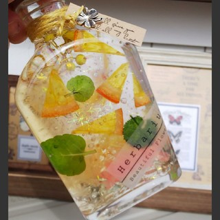 オレンジハーブ水みたいなハーバリウム*.゚スキレット瓶(その他)