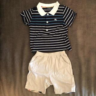 バーバリー(BURBERRY)のバーバリー ボーダー ポロシャツ + ハーフパンツ 90センチ(その他)
