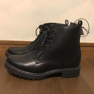 ジーユー(GU)のGU レースアップブーツ シューズ 靴 M 黒 新品(ブーツ)