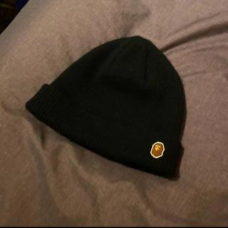 アベイシングエイプ(A BATHING APE)のApe ニット帽 ビーニー 黒(ニット帽/ビーニー)