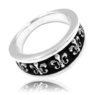 シルバー925 ハンドメイド 百合の紋章 リング すぼみ ブラック メンズ (リング(指輪))