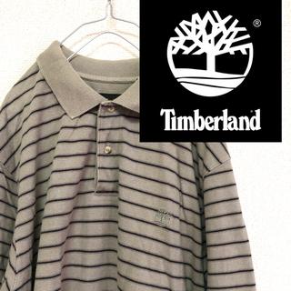 ティンバーランド(Timberland)のティンバーランド ポロシャツ 胸刺繍 ビッグシルエットカーキ ボーダー L(ポロシャツ)
