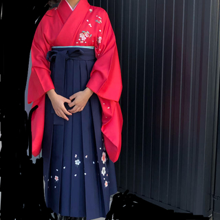 卒業式 袴セット髪飾り付き  桜柄 小振袖 洗えるポリエステル(着物)