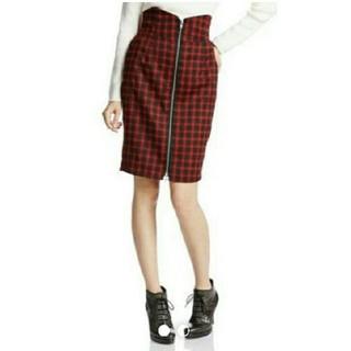 ダズリン(dazzlin)のダズリン チェックフロントファスナースカート(ひざ丈スカート)