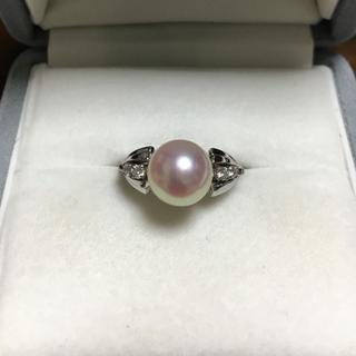 ミキモト(MIKIMOTO)のミキモト 花珠級 ダイヤモンド×パール リング K14WG 8.5mm 3.8g(リング(指輪))