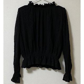 ドゥドゥ(DouDou)のDouDou 長袖 レース フリル 黒 シースルー フリーサイズ 春服 モード系(シャツ/ブラウス(長袖/七分))