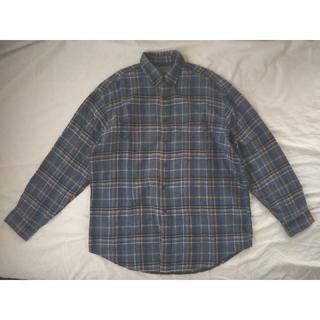 メンズ ボタンダウン ネルシャツ 青(シャツ)